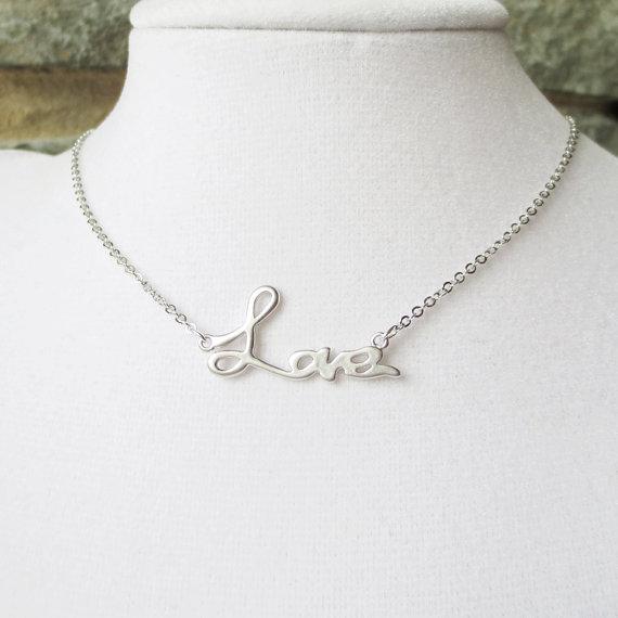 Mariage - Love Statement Necklace, Bridesmaid, Lariat, Choker, Wedding jewelry, Love Script, Pendant Necklace