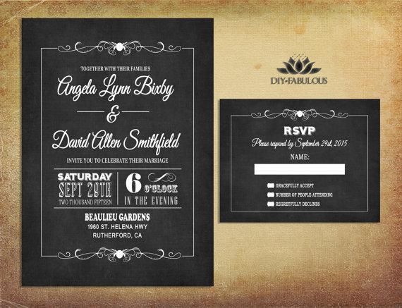 chalkboard wedding invitation printable retro wedding invitation