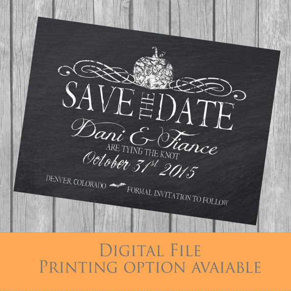 Wedding - Halloween Save the Date Card, chalkboard, white, pumpkins, spiders