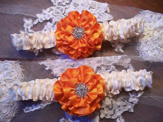 Hochzeit - Wedding Garter Set with Orange Rose on Ivory, Garter, Bridal Garter with Rhinestone Center, Prom Garter