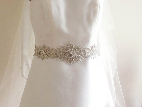 Hochzeit - Wedding Couture Sash Belt  - SUN 18 inches (Ready to ship)