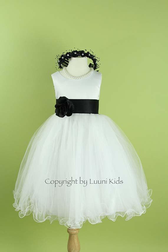 Flower Girl Dress - WHITE Wavy Bottom Dress With BLACK Sash ...