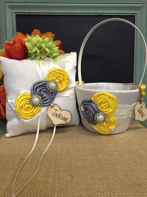 Свадьба - YOU DESIGN / Flower girl basket / ring bearer pillow / grey and yellow