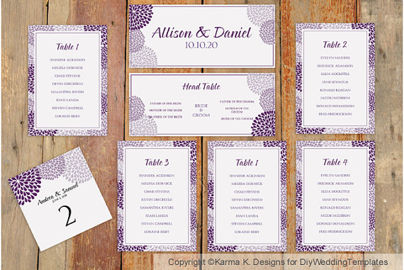 Wedding Seating Chart Template Download Instantly – Wedding Seating Chart Template Free Printable