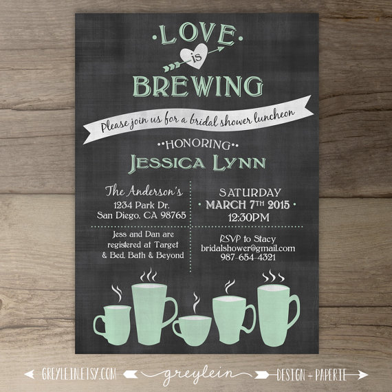 Chalkboard Engagement Party Invitation Printable By: Love Is Brewing • Bridal Shower • Wedding / Engagement