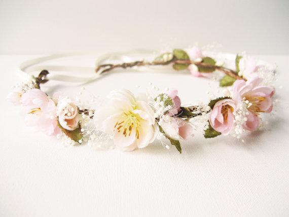 Mariage - Cherry blossom flower crown, Pink wedding hair accessories, Bridal headpiece, Baby's breath, Floral headband, Wreath - DAYDREAM