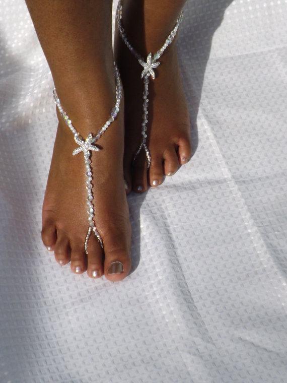 Mariage - Pearl Crystal Foot Jewelry Starfish Barefoot Sandals Bridal Accessories Barefoot Sandles