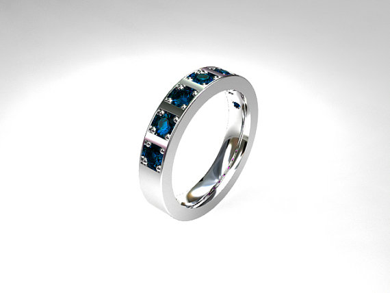 London Blue Topaz Wedding Band White Gold Ring Unique London Blue
