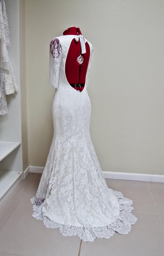 Свадьба - Chantilly Lace Wedding Dress, Hippie Boho Lace Dress, Bohemian Wedding Dress, Open Back Lace Dress