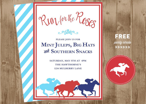 Свадьба - Derby Day Printable Invite - horses - equestrian- Run for the Roses - red blue - free tag topper