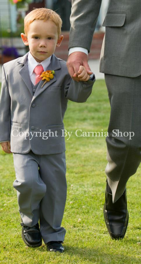 Formal Boy Suit Gray With Guava Vest For Toddler Baby Ring Bearer ...