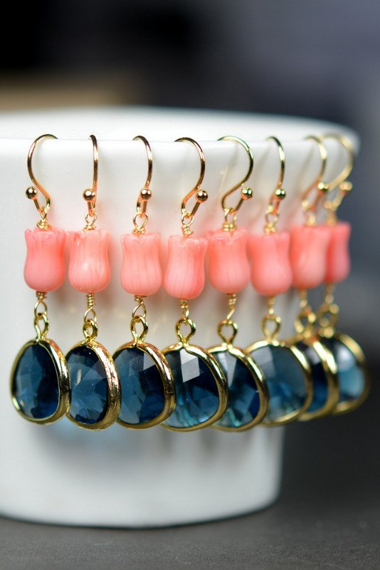 Mariage - Navy Coral -Bridesmaid jewelry sapphire blue Gold Drop Earrings Wedding Bridal Wedding Dangle Earrings Bridal Jewelry  Bridesmaid Gift