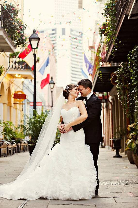 Свадьба - Cathedral length Wedding Bridal Veil 108 inches white, ivory or diamond