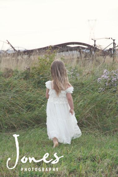 Hochzeit - Lace Flower Girl Dress -Ivory Lace Baby Doll Dress-Rustic Flower Girl Dress-Flower Girl Dresses- Dress-Shabby Chic Flower Girl Dress