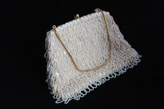 Hochzeit - WHITE Wedding Sequins 60's MOD HANDBAG Vintage Beaded Bling Clutch Purse gold-toned clasp - strap bag Retro Woman's Glam Evening Accessory