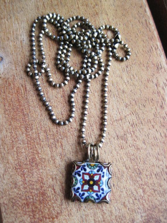Hochzeit - Mexican Jewelry, Mexican wedding, Southwestern Pottery design jewelry, Gypsy jewelry,  Mission style, Mexican Folk Art tile necklace, MTO
