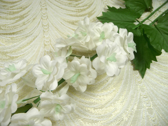 Sale vintage delphinium silk millinery flower spray white for Flower sprays for weddings