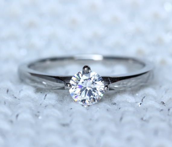 Titanium And Natural White Sapphire Solitaire Ring Engagement Ring Weddin