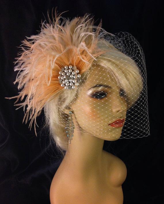 Hochzeit - Rhinestone Pearl Bridal Feather Fascinator, Bridal Headpiece, Wedding Veil, Ivory, Full Birdcage Veil, Blush and Ivory