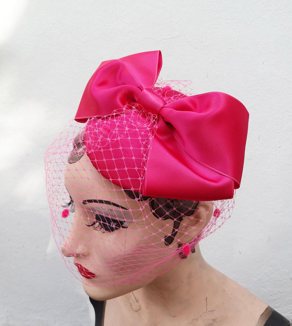 Mariage - Pink Birdcage Veil, Giant Bow, Unique Bridal Accessory, Women's Hat, Fascinator Hot Pink, Batcakes Couture,