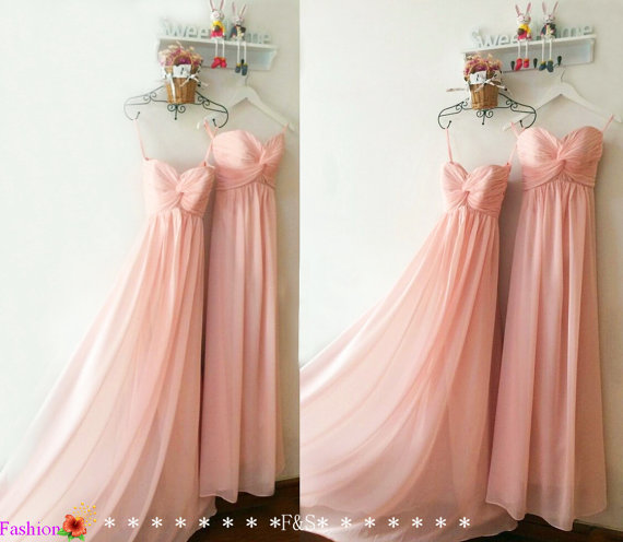Mariage - Bush Pink Bridesmaid Dress,Inexpensive Peach Bridesmaid Dress,Pink Long Chiffon Bridesmaid Dress,Blush Bridesmaid Dress,Pink Prom Dresses