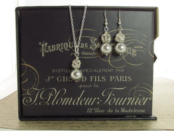 زفاف - Silver Bridesmaid Jewelry - Bridesmaid Jewelry Set - Silver Bridal Jewelry - Pearl and Rhinestone - Bridal Necklace -  Pearl Bridesmaid Set