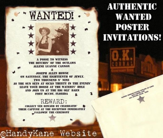 Photo Western Wanted Poster Wedding Invitations Response Cards