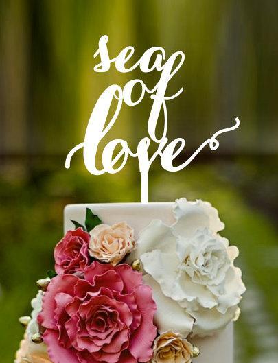 Свадьба - sea of love, wedding cake topper,names on cake, custom cake topper, cake topper, birthday cake topper, wedding cake toppers,french