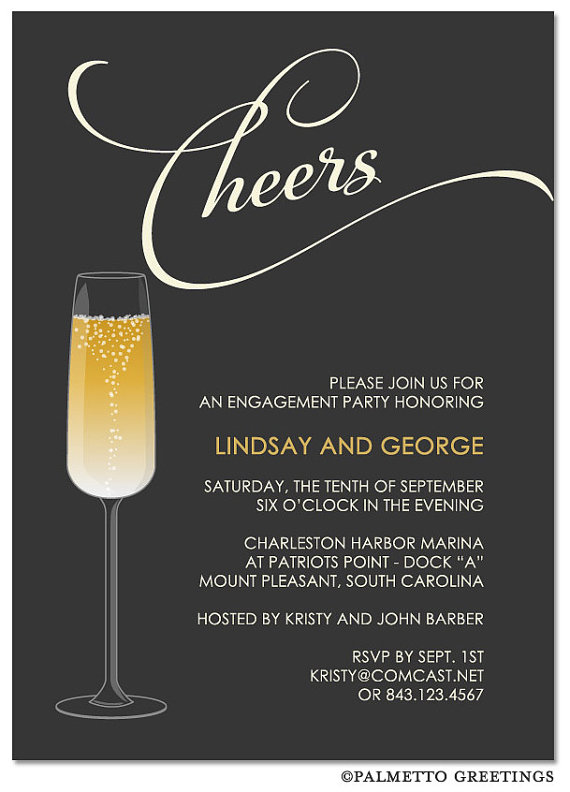 """Mariage - PRINTED - Set of 25 (5"""" x 7"""") Champagne Engagement Party Invitation (Cheers)"""