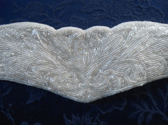 Mariage - White Glass Beaded Vintage Womens Adjustable Prom Wedding Accessory Accessories 80's 90's Style Large XL Size Wide Belt XXL XXXL Plus Size
