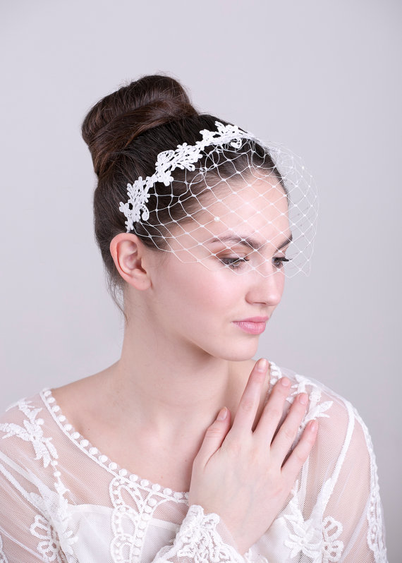 Outstanding Bridal Ivory Birdcage Veil With Lace Wedding Veil Birdcage Short Hairstyles For Black Women Fulllsitofus