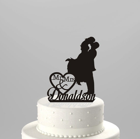 Wedding Cake Topper Silhouette Couple Mr Mrs Personalized With Last Name Acrylic CT3b