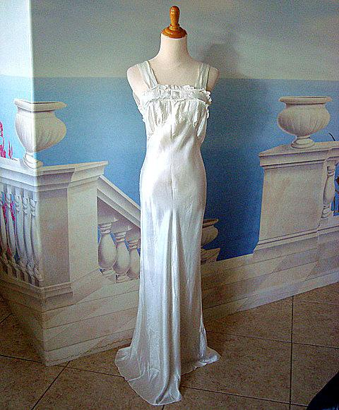 Vintage 1930s Deco White Satin Lingerie Slip Dress Pippa
