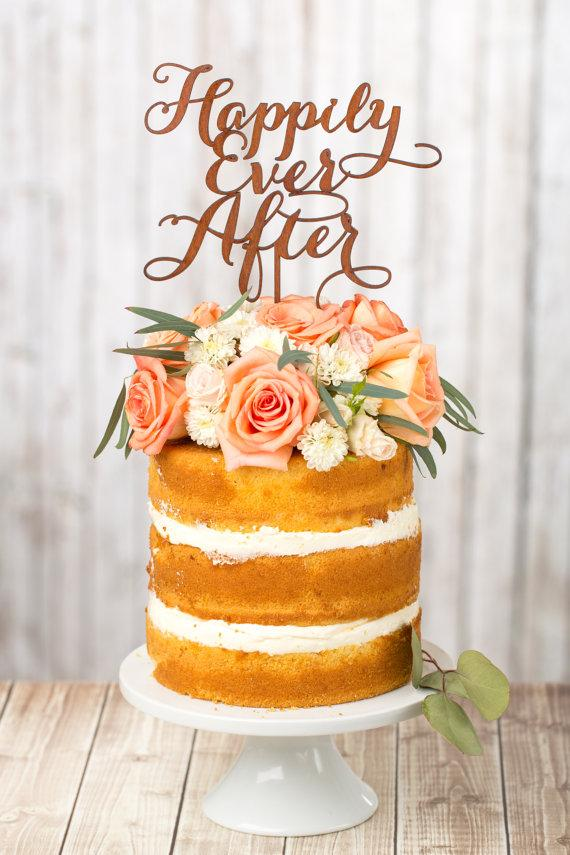 Свадьба - Wedding Cake Topper - Happily Ever After - Mahogany