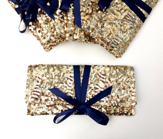 Wedding - Navy and Gold Bag // Gold sequins clutch with navy bow // Sparkle glitter envelope slim wedding bag // Party clutch