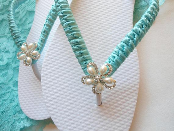 Свадьба - blue Flip Flops for Bride, Wedding flip flops, Bridal Sandals, Wedding Sandals, Beach Wedding shoes, blue shoes