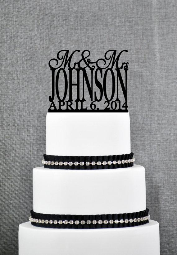 Traditional Last Name Wedding Cake Toppers With Date Personalized Topper Custom Mr And Mrs