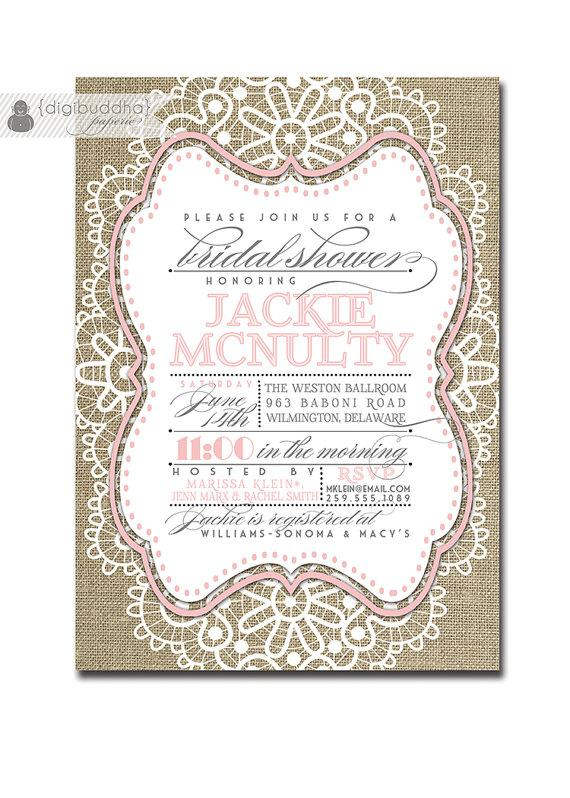 Mariage - Lace Bridal Shower Invitation Linen Burlap Pink Pastel Vintage Rustic Wedding Invite Rose FREE PRIORITY SHIPPING or DiY Printable - Jackie
