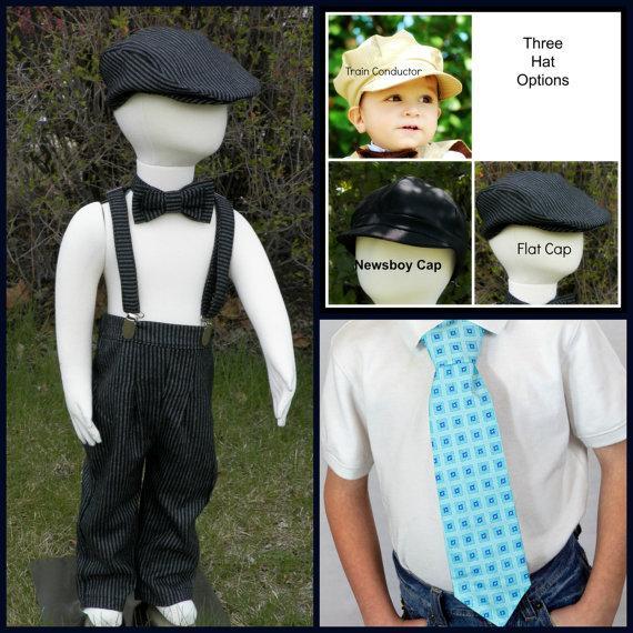 زفاف - Boys suit size 5 to 8 boys, Mix and match set long pants, susupenders, hat, necktie, bow tie,