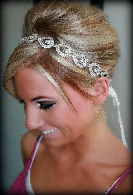 Hochzeit - Bridal Headband, Bridal Head Piece, ELSIE, Rhinestone Headband, Wedding Headband, Bridal Hair Piece, Bridal Headpiece, Rhinestone