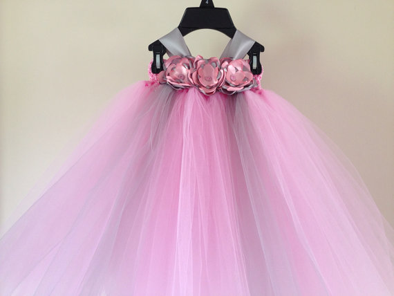 Flower girl dress and free matching hairpiece pink and for Matching wedding and flower girl dresses