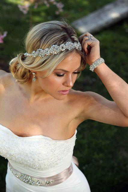 Mariage - Ada Wedding bridal headpiece crystal headband headpiece satin ribbon vintage inspired art deco style