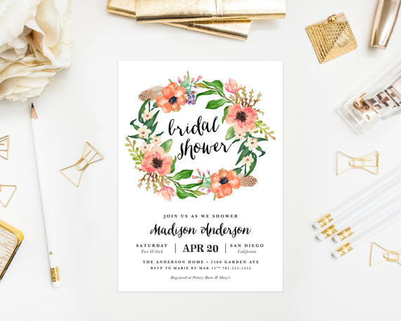 printable boho wreath bridal shower invitation
