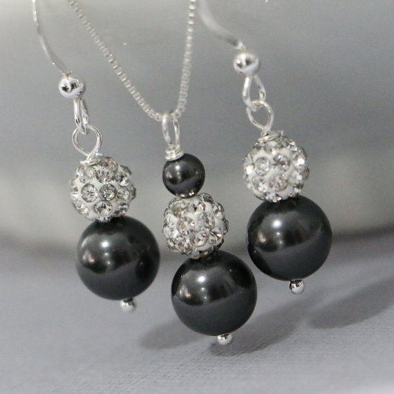 Sterling Silver Swarovski Black Pearl Necklace And Earring Set
