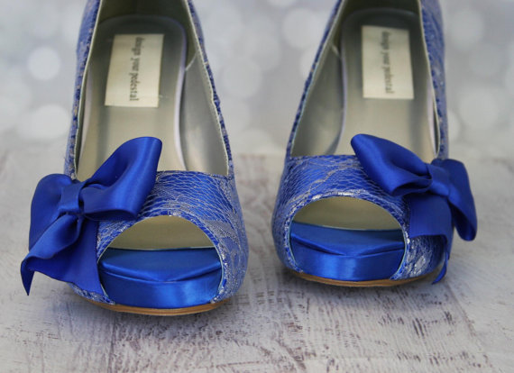 Wedding shoes royal blue platform peep toe custom wedding shoes wedding shoes royal blue platform peep toe custom wedding shoes with silver lace overlay bow and buttons junglespirit Image collections