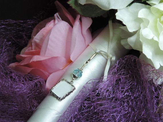 Wedding - Wedding bouquet charm. Something blue- light blue crystal bouquet charm.