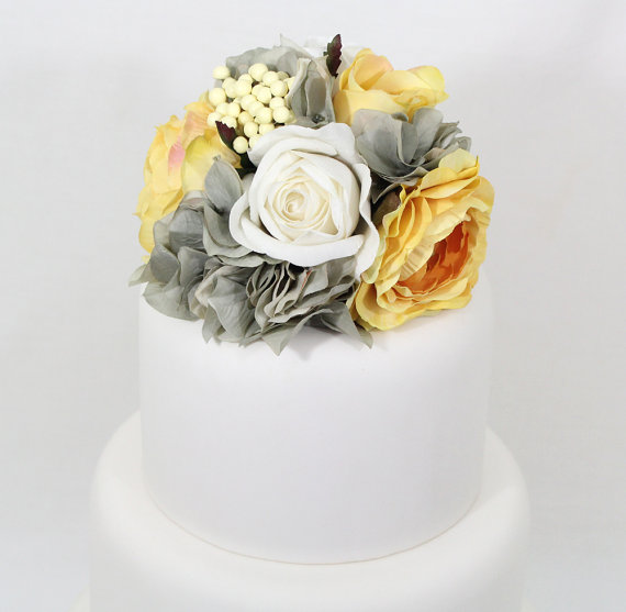 Wedding cake topper yellow white rose gray hydrangea silk flower wedding cake topper yellow white rose gray hydrangea silk flower wedding cake topper silk flower cake topper gray and yellow wedding junglespirit