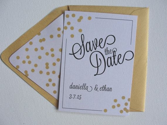 Save The Date Cards Shimmer Confetti Lined Envelopes Custom