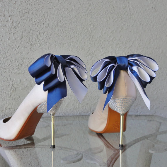 Mariage - Bridal Party Wedding Navy Blue And White Satin Ribbon Bow  Shoe Clips Set Of Two More Colors Available