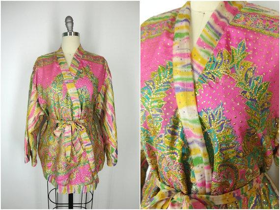 Hochzeit - Kimono / Silk Kimono Robe / Kimono Cardigan / Kimono Jacket / Wedding lingerie / Vintage Sari / Art Deco / Downton Abbey / Pink Gold Silk